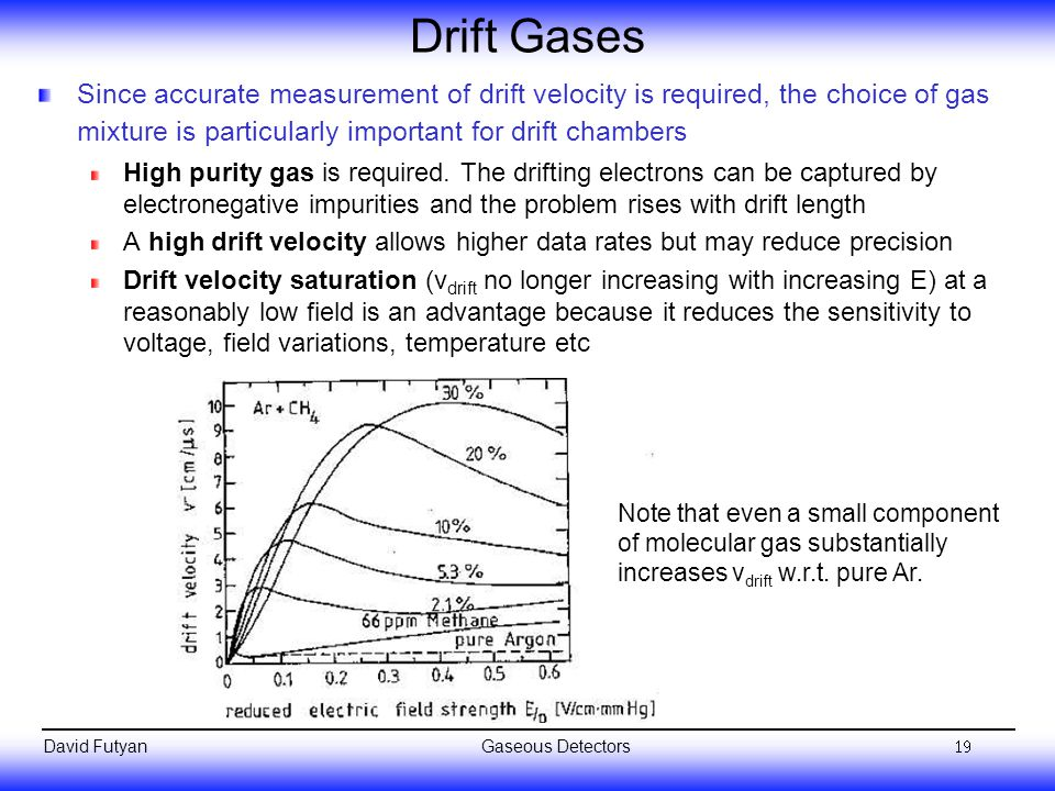 Drift Gases Since accurate measurement of drift velocity is required, the choice of gas mixture is particularly important for drift chambers.