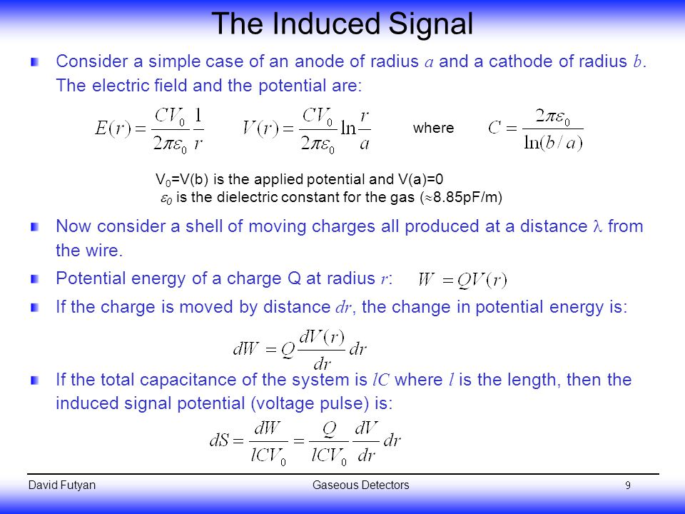 The Induced Signal Consider a simple case of an anode of radius a and a cathode of radius b. The electric field and the potential are: