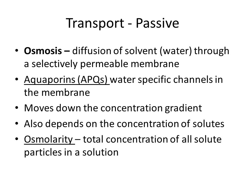 Transport - Passive Osmosis – diffusion of solvent (water) through a selectively permeable membrane.