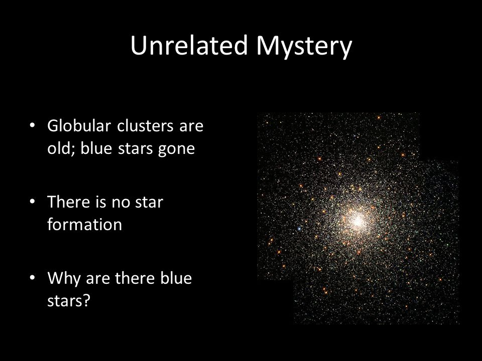 Unrelated Mystery Globular clusters are old; blue stars gone