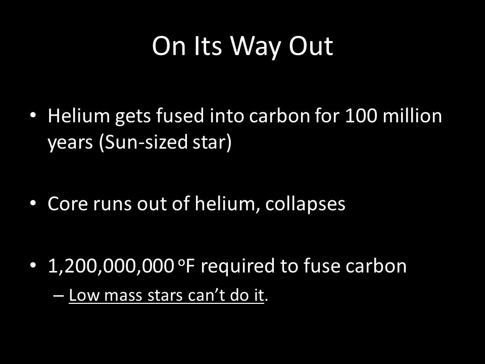 On Its Way Out Helium gets fused into carbon for 100 million years (Sun-sized star) Core runs out of helium, collapses.