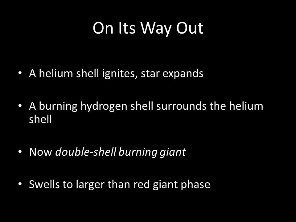 On Its Way Out A helium shell ignites, star expands