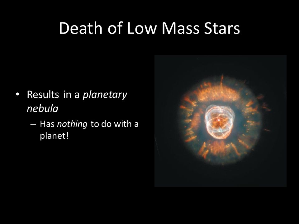 Death of Low Mass Stars Results in a planetary nebula
