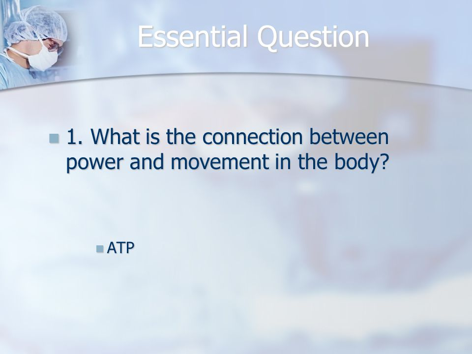 Essential Question 1. What is the connection between power and movement in the body ATP