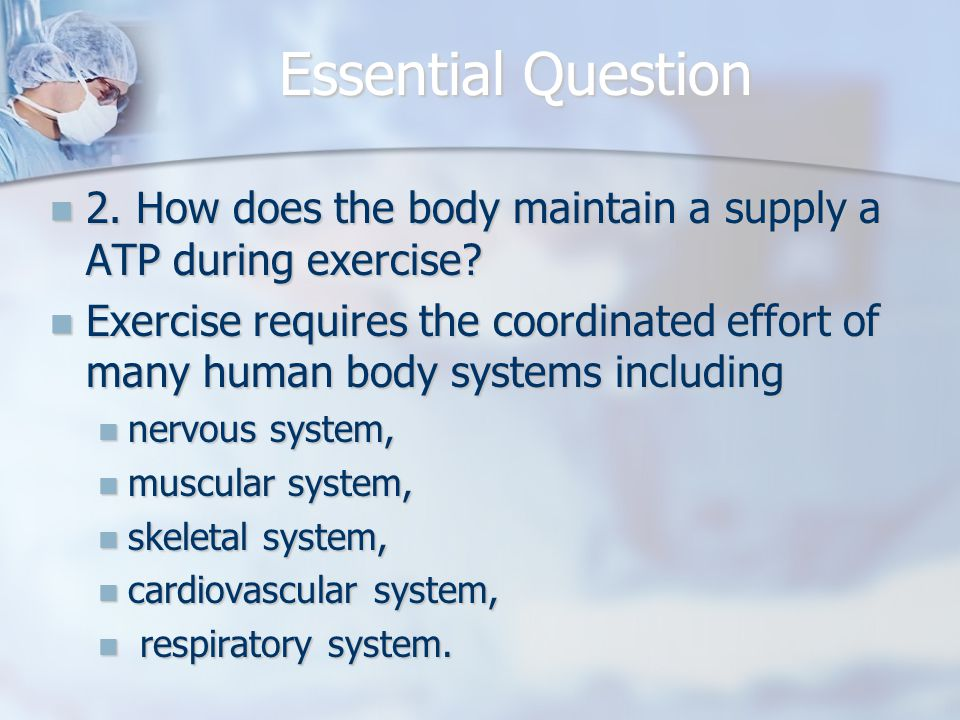 Essential Question 2. How does the body maintain a supply a ATP during exercise