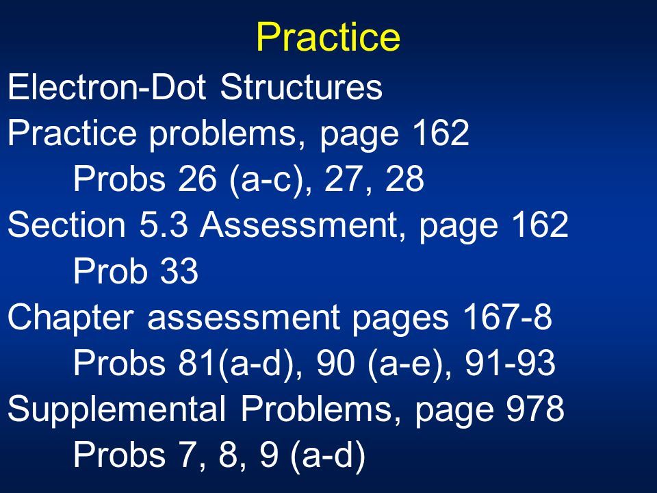 Practice Electron-Dot Structures Practice problems, page 162