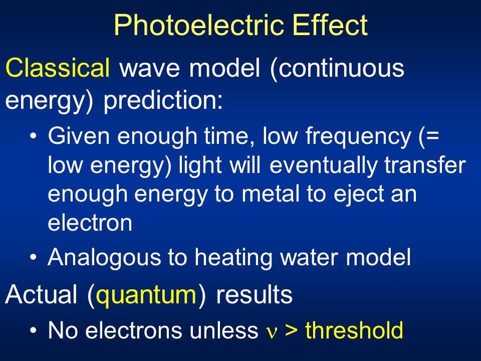 Photoelectric Effect Classical wave model (continuous energy) prediction: