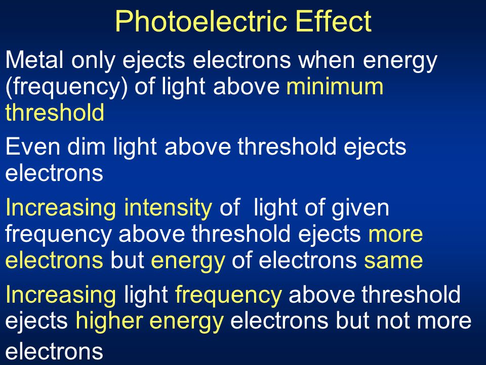Photoelectric Effect Metal only ejects electrons when energy (frequency) of light above minimum threshold.