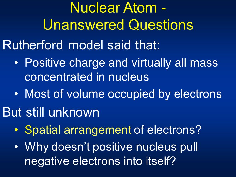 Nuclear Atom - Unanswered Questions