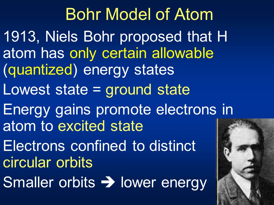 Bohr Model of Atom 1913, Niels Bohr proposed that H atom has only certain allowable (quantized) energy states.
