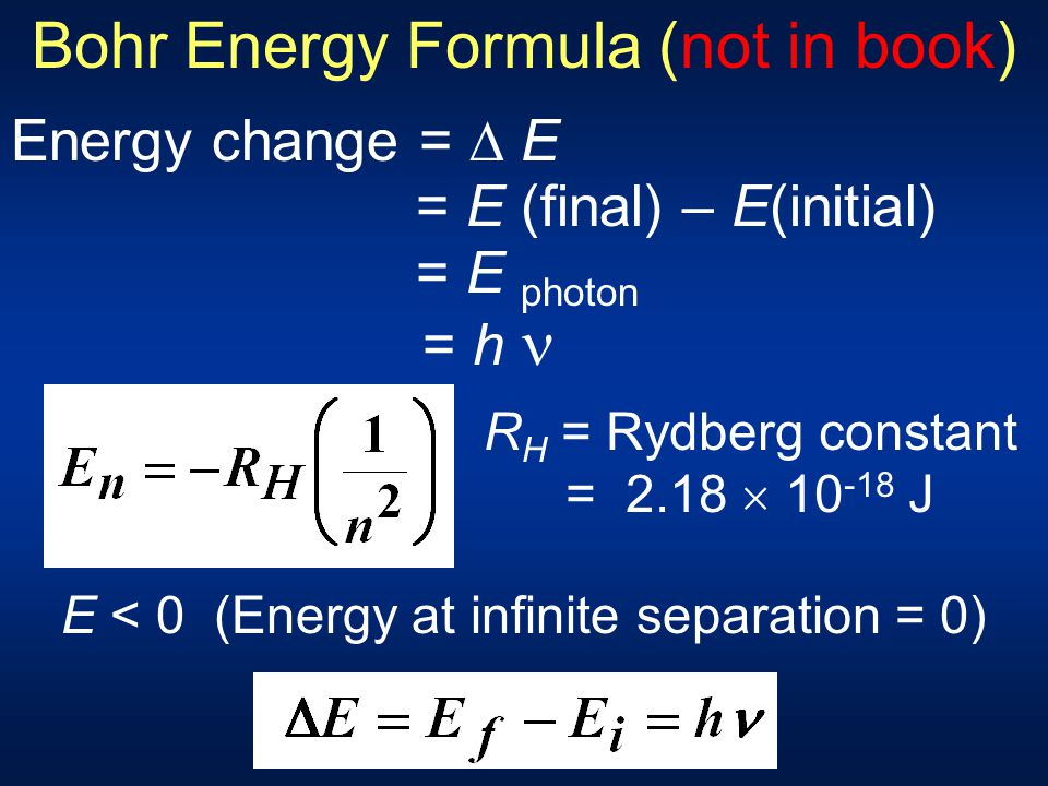 Bohr Energy Formula (not in book)