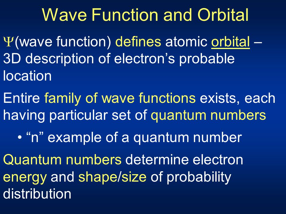 Wave Function and Orbital