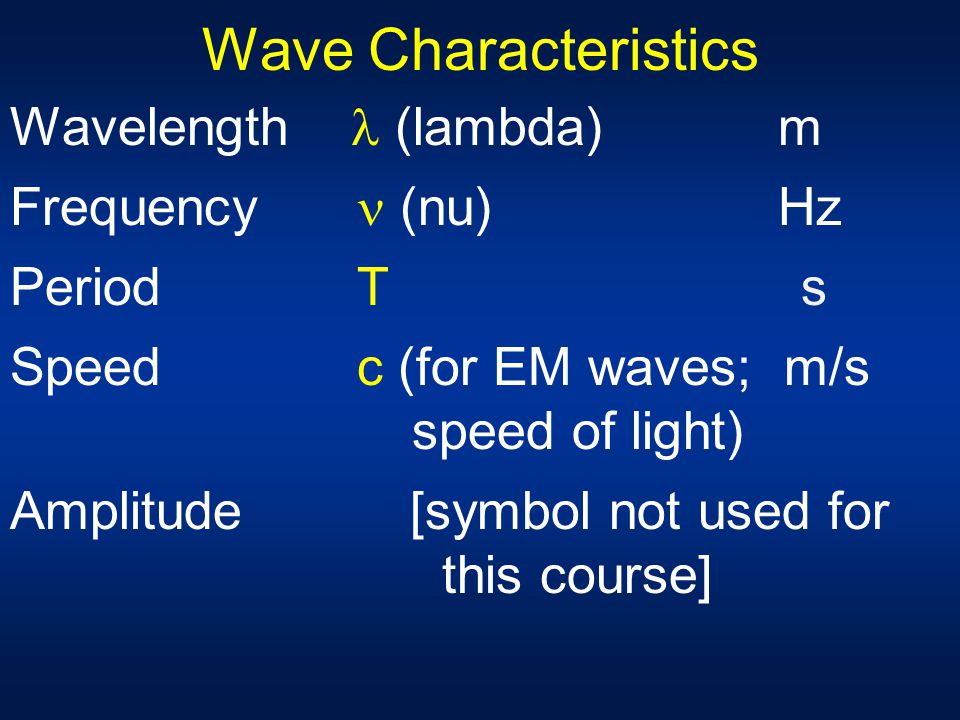 Wave Characteristics Wavelength  (lambda) m Frequency  (nu) Hz