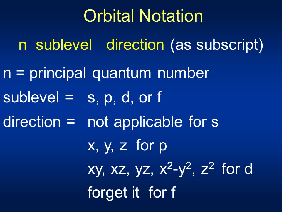 n sublevel direction (as subscript)