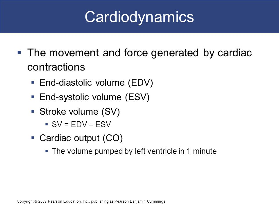 Cardiodynamics The movement and force generated by cardiac contractions. End-diastolic volume (EDV)
