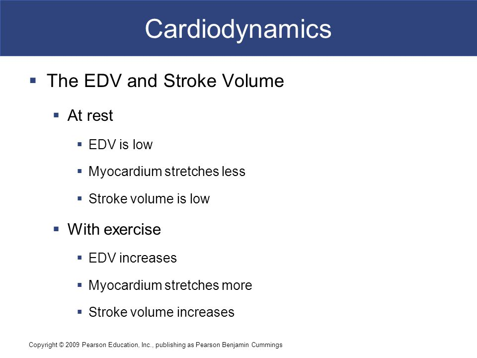 Cardiodynamics The EDV and Stroke Volume At rest With exercise