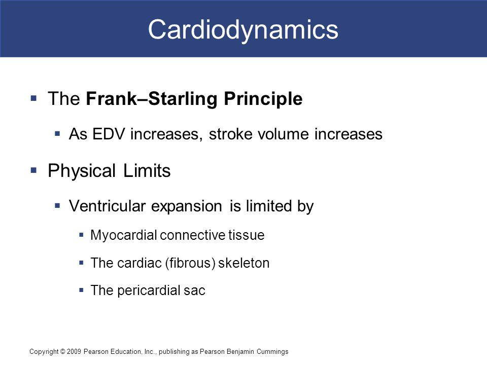 Cardiodynamics The Frank–Starling Principle Physical Limits