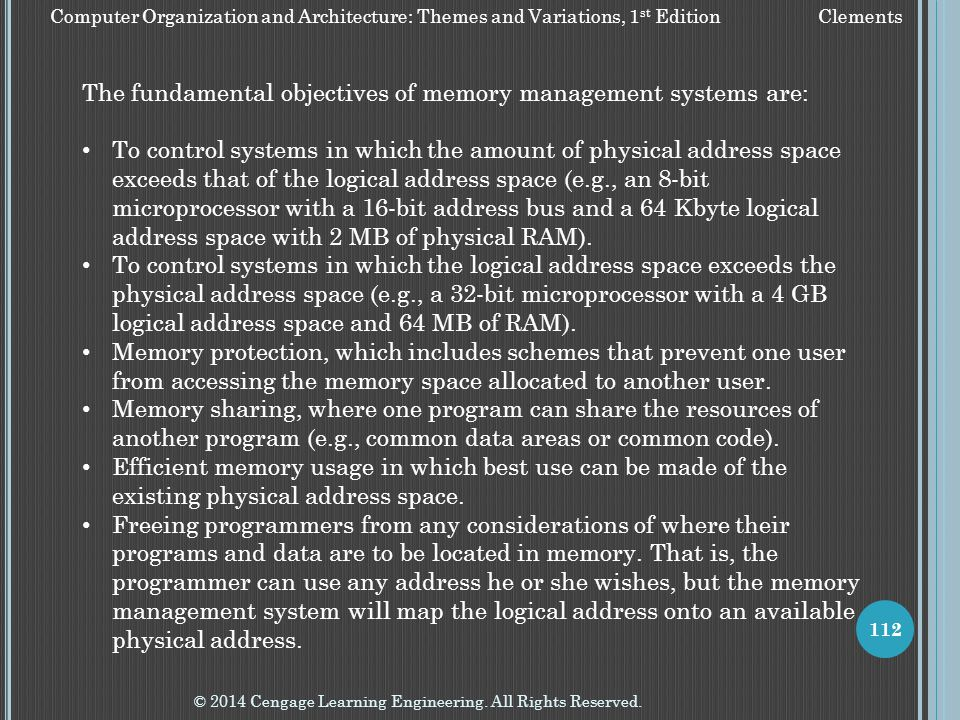 The fundamental objectives of memory management systems are: