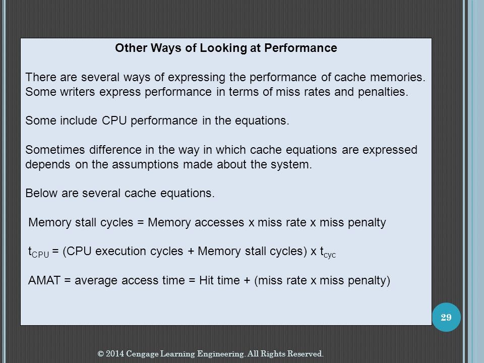 Other Ways of Looking at Performance
