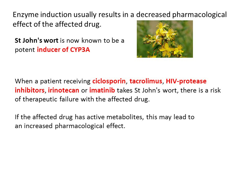 Enzyme induction usually results in a decreased pharmacological effect of the affected drug.