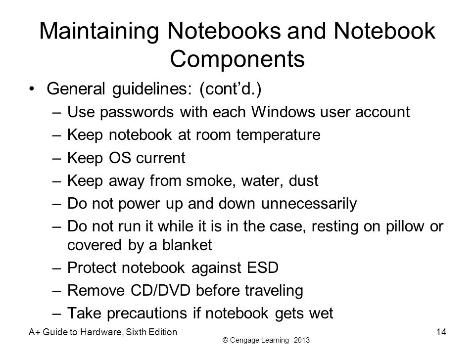Maintaining Notebooks and Notebook Components