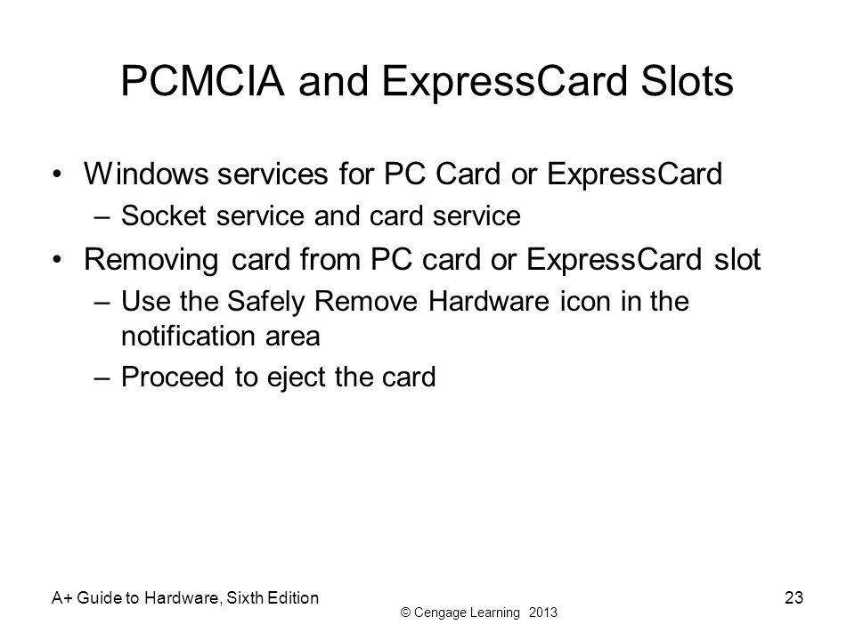 PCMCIA and ExpressCard Slots