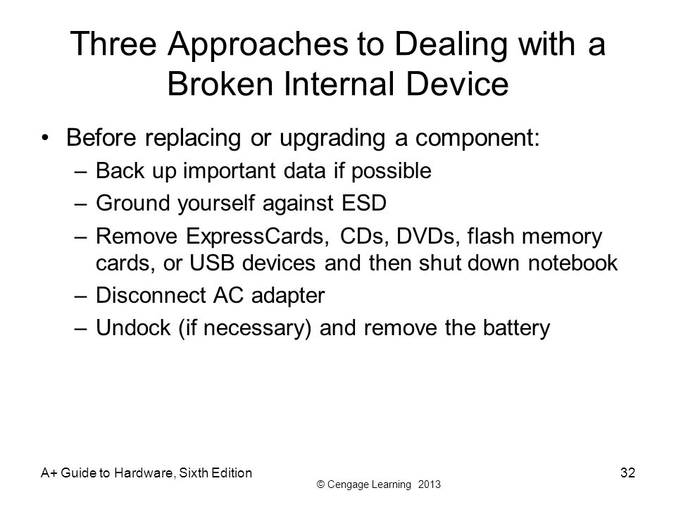 Three Approaches to Dealing with a Broken Internal Device