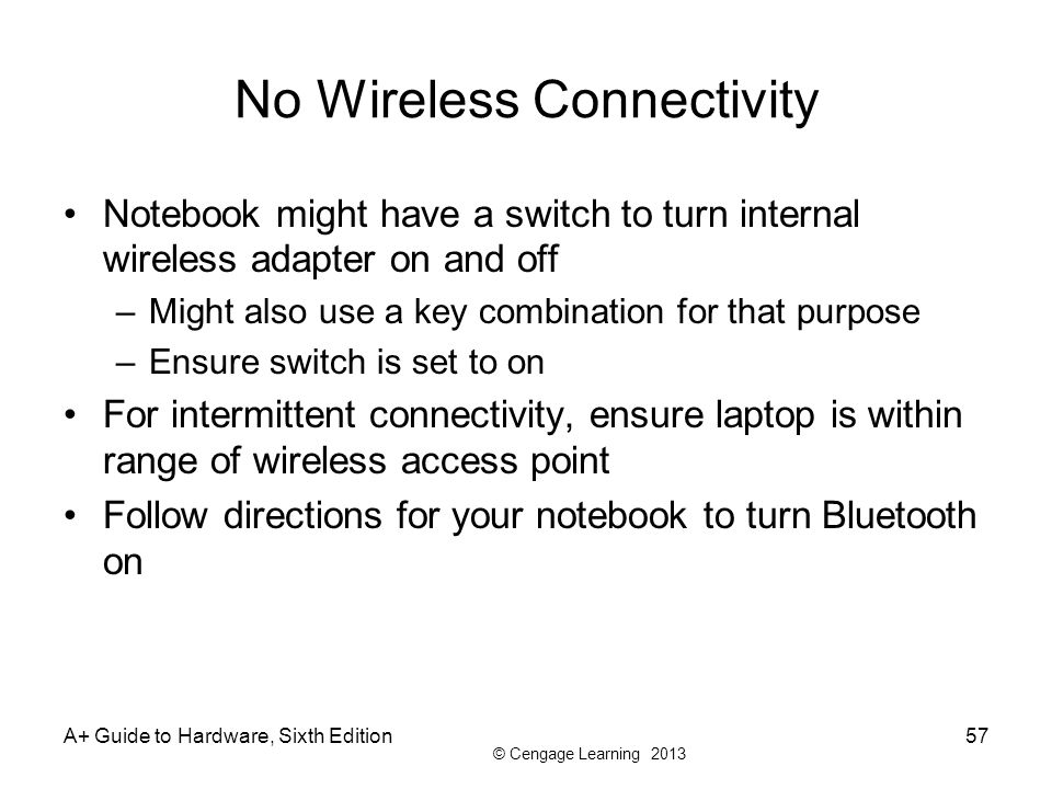 No Wireless Connectivity