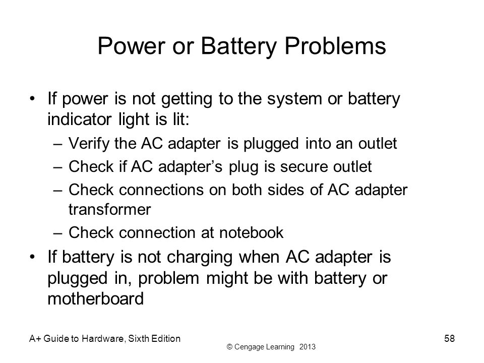 Power or Battery Problems