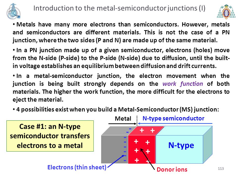 Case #1: an N-type semiconductor transfers electrons to a metal