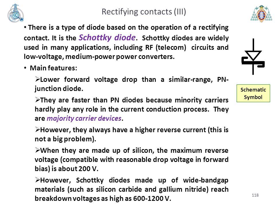 Rectifying contacts (III)