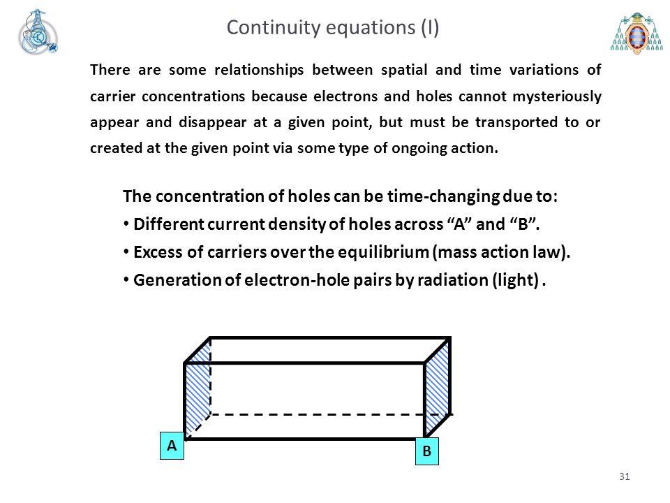 Continuity equations (I)