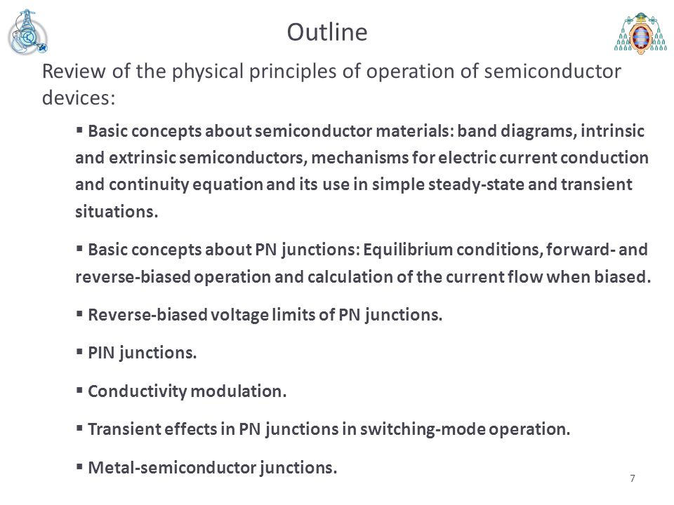 Outline Review of the physical principles of operation of semiconductor devices: