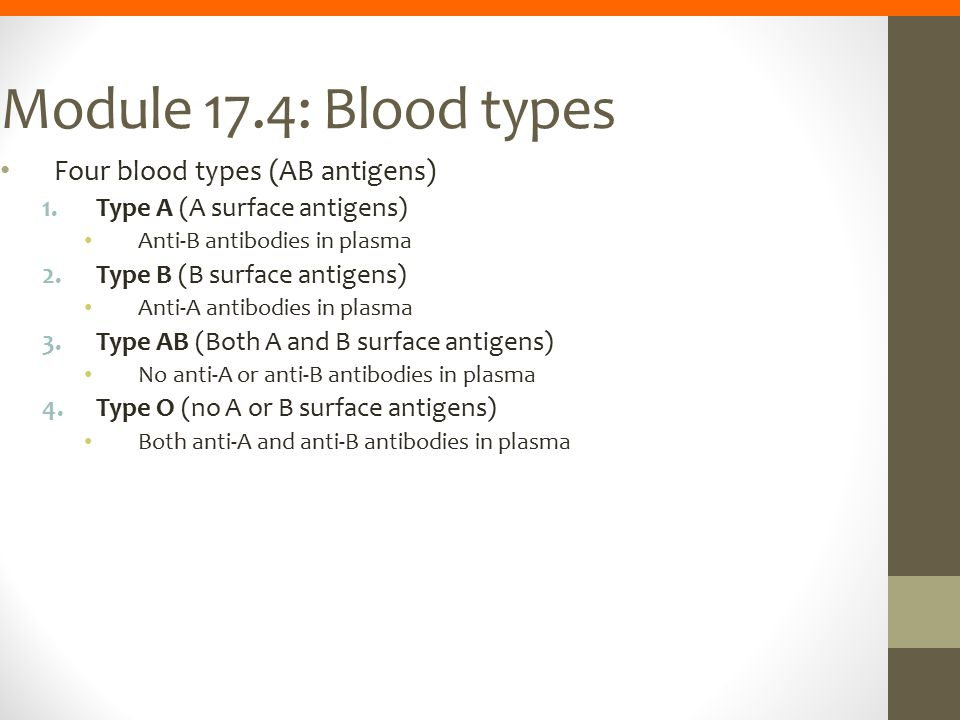 Module 17.4: Blood types Four blood types (AB antigens)