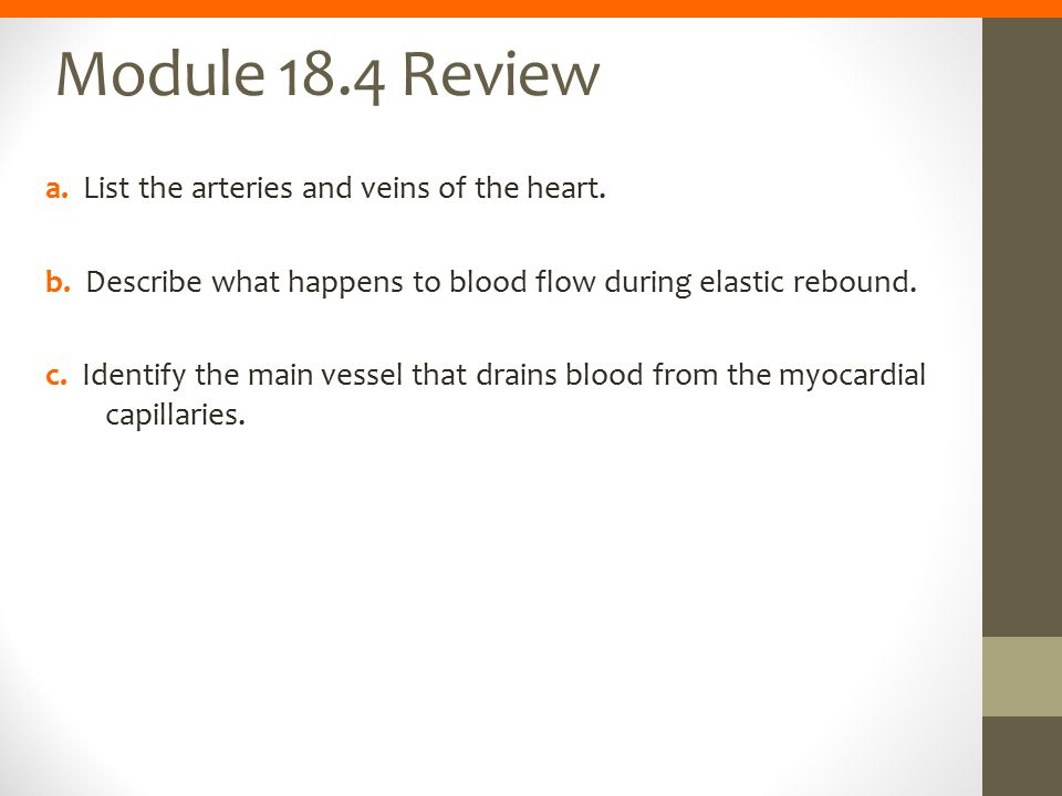 Module 18.4 Review a. List the arteries and veins of the heart.