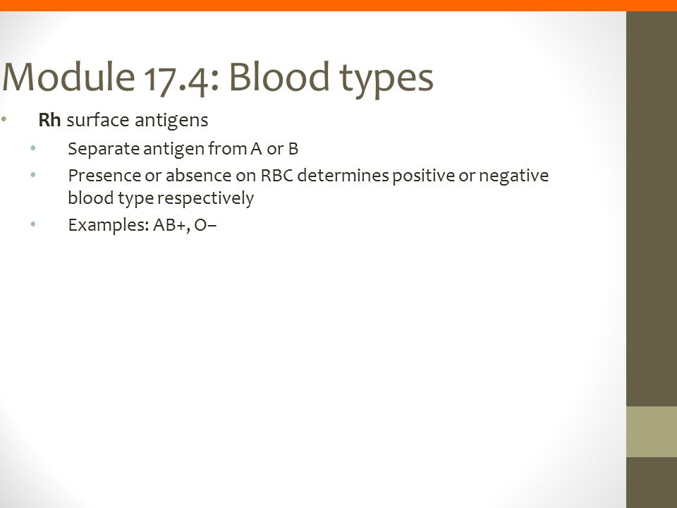 Module 17.4: Blood types Rh surface antigens