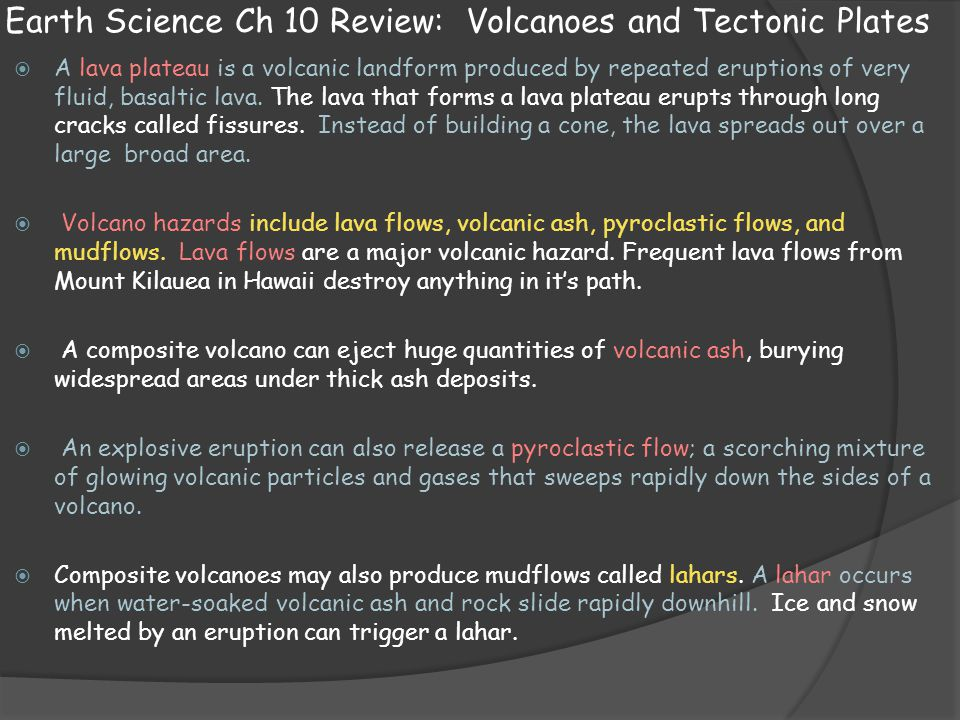 Earth Science Ch 10 Review: Volcanoes and Tectonic Plates