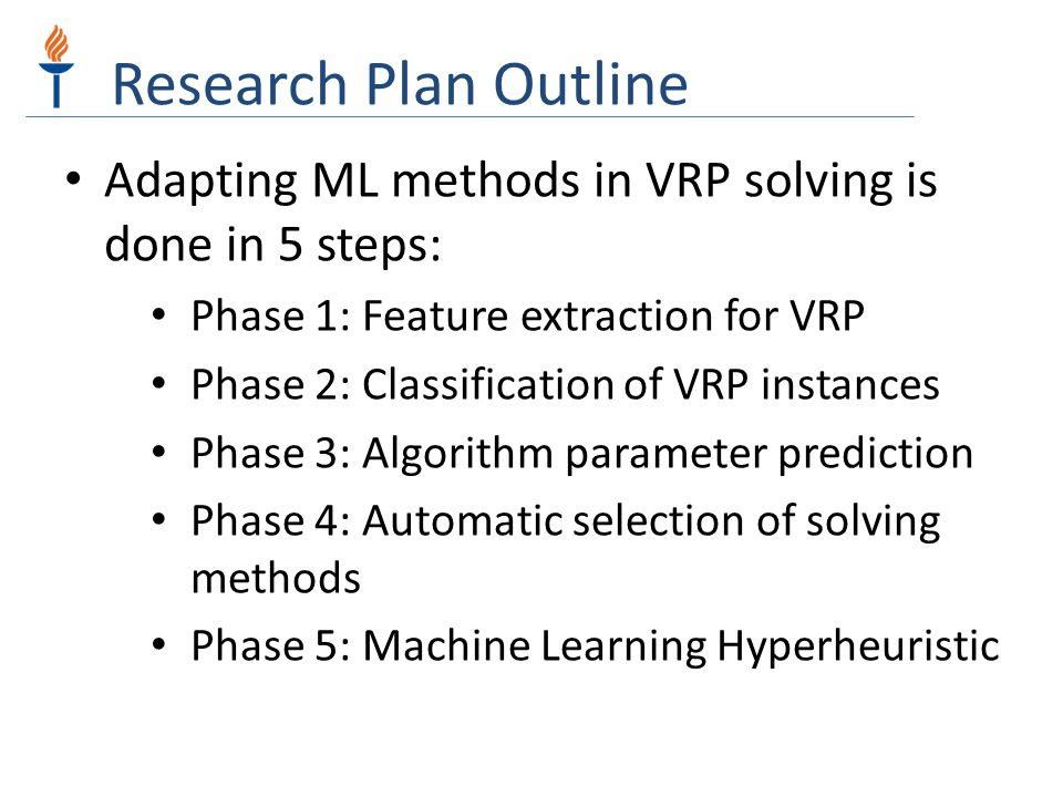 Research Plan Outline Adapting ML methods in VRP solving is done in 5 steps: Phase 1: Feature extraction for VRP.