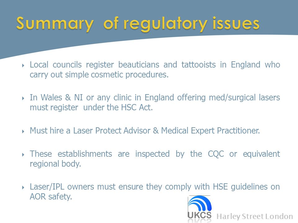 Summary of regulatory issues