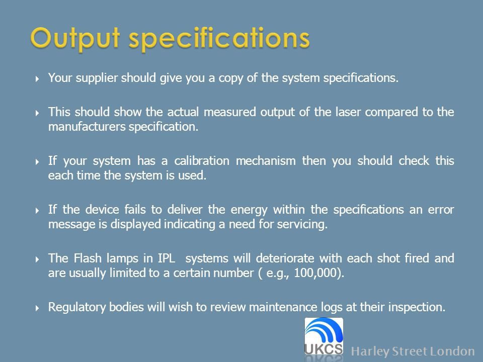 Output specifications