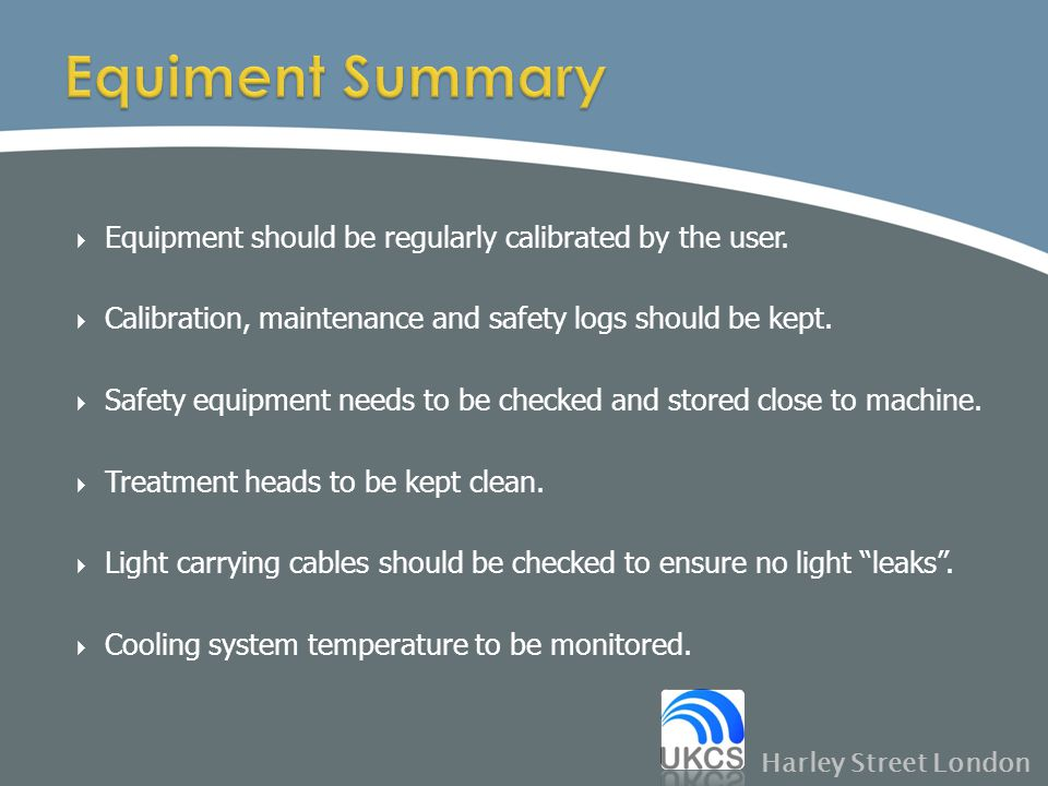 Equiment Summary Equipment should be regularly calibrated by the user.