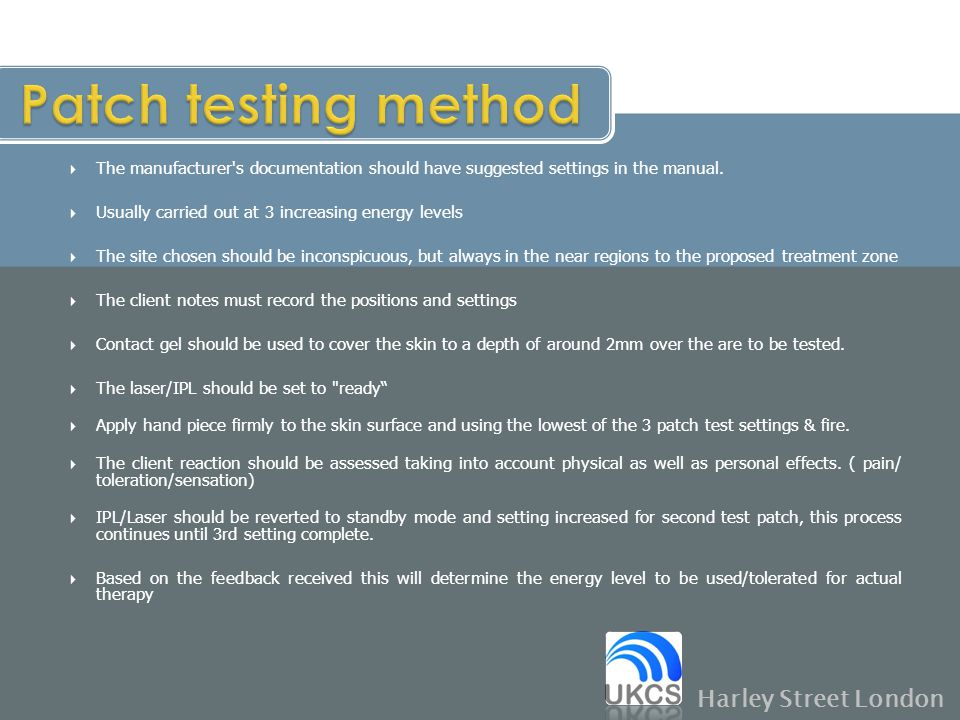 Patch testing method Harley Street London