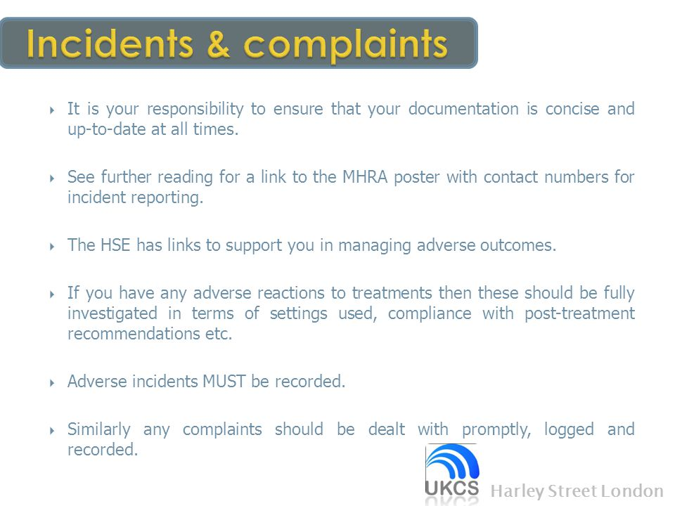 Incidents & complaints