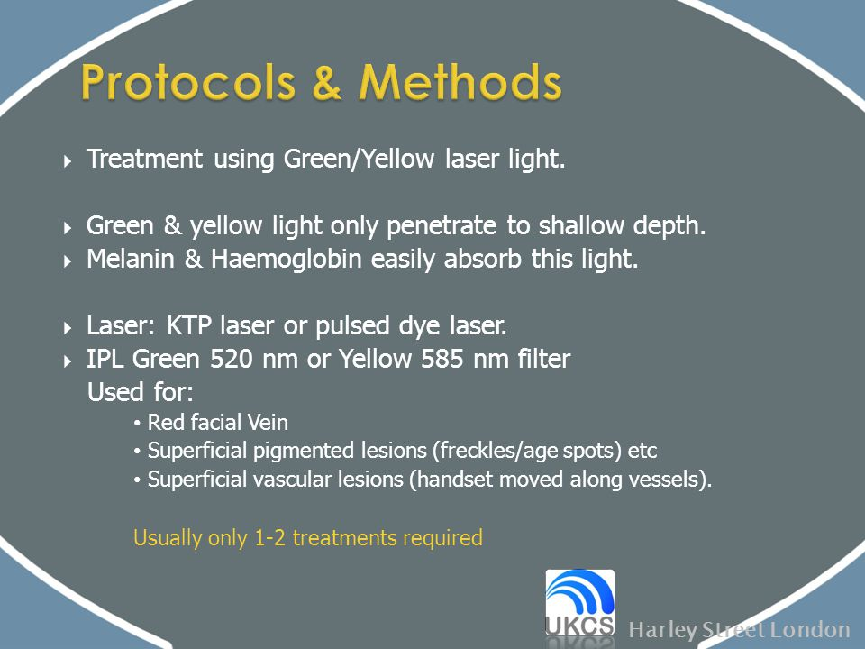Protocols & Methods Treatment using Green/Yellow laser light.