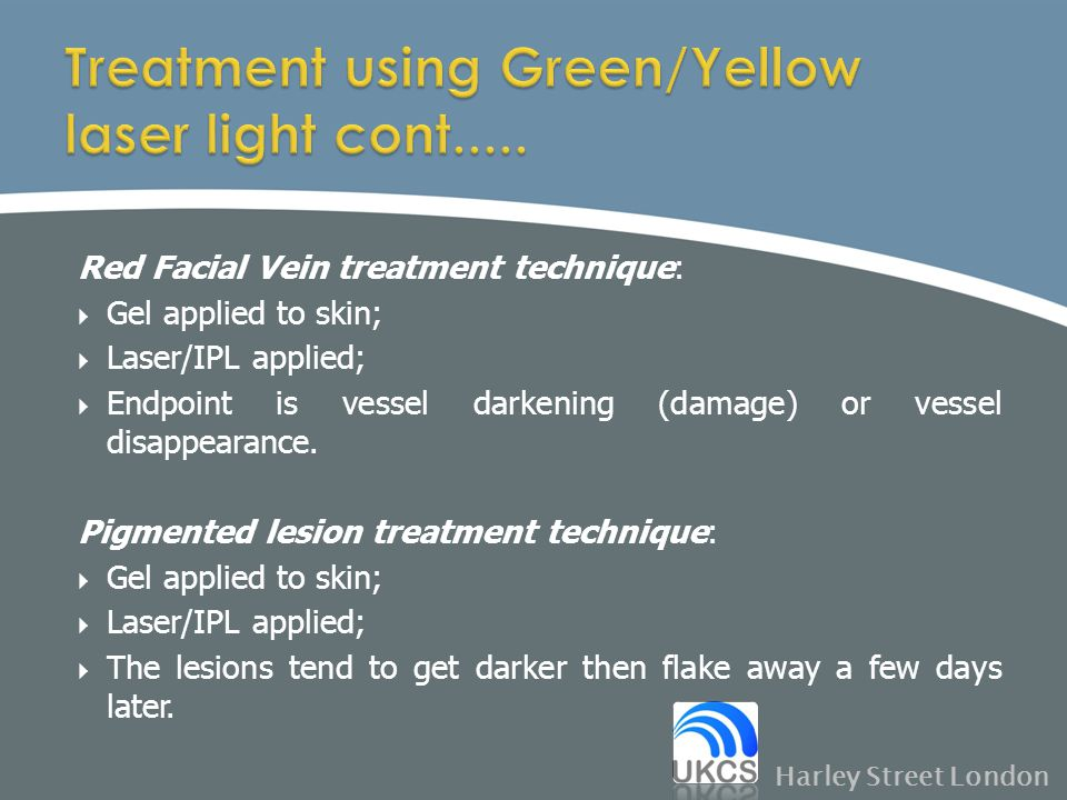 Treatment using Green/Yellow laser light cont.....