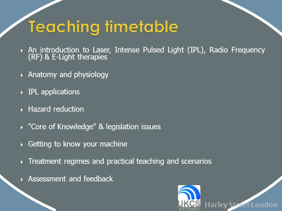 Teaching timetable An introduction to Laser, Intense Pulsed Light (IPL), Radio Frequency (RF) & E-Light therapies.