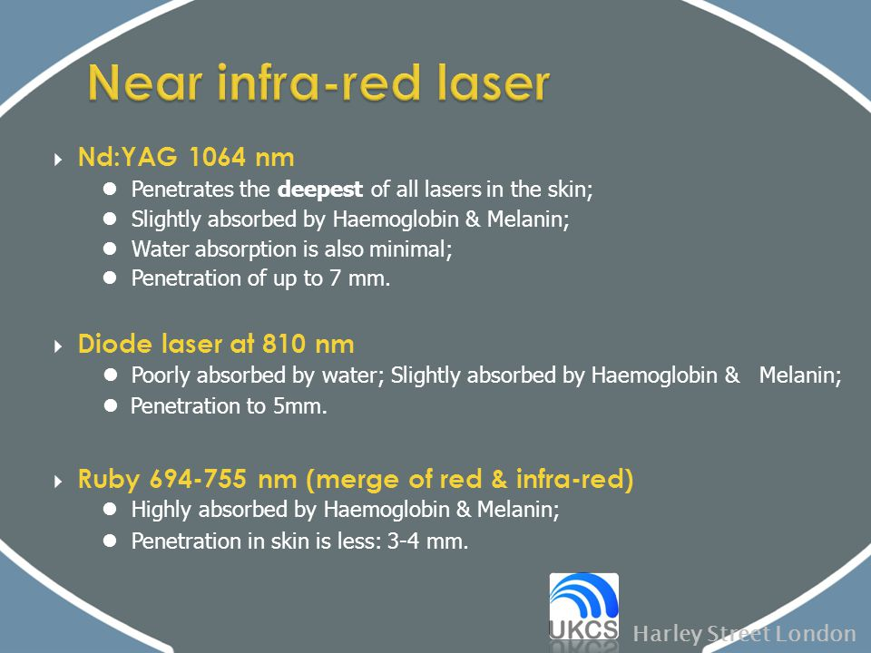 Near infra-red laser Nd:YAG 1064 nm Diode laser at 810 nm