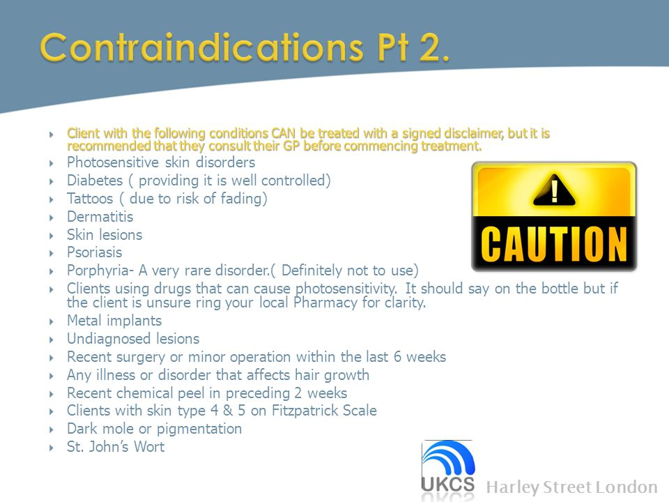 Contraindications Pt 2. Harley Street London
