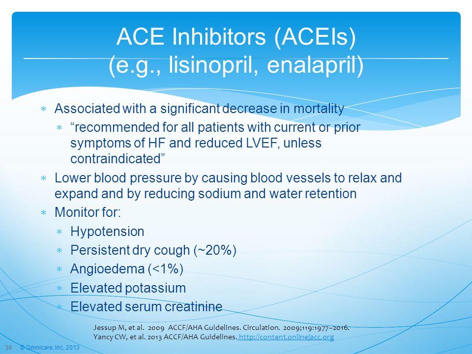 ACE Inhibitors (ACEIs) (e.g., lisinopril, enalapril)