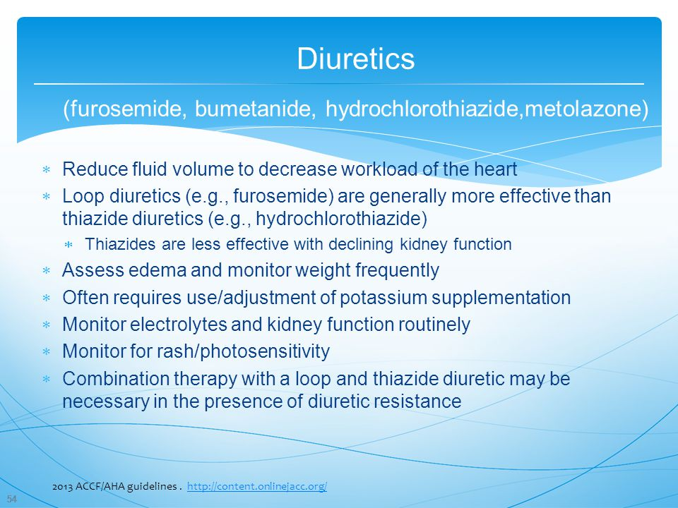 Diuretics (furosemide, bumetanide, hydrochlorothiazide,metolazone)
